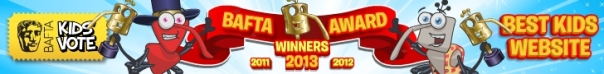 Wow, Bin Weevils have been lucky enough to win the Bafta! Kids' Vote three years in a row!