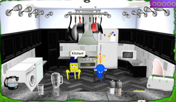 Here's Cube's first room. I think this kitchen in Cube's nest, has to beat any kitchen on Bin Weevils! The layout and everything, is just perfect!