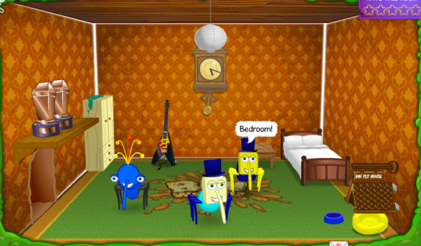 This is Cube's fifth room. Wondering what the trophies are? They're the original Best Nest trophies!