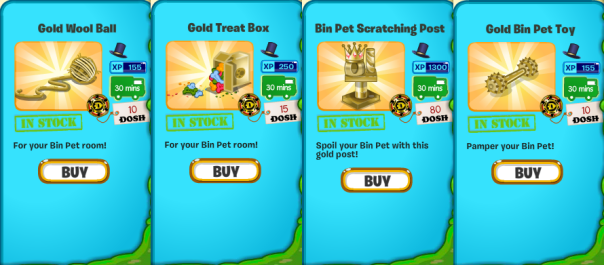New Golden Bin Pet Nest items.