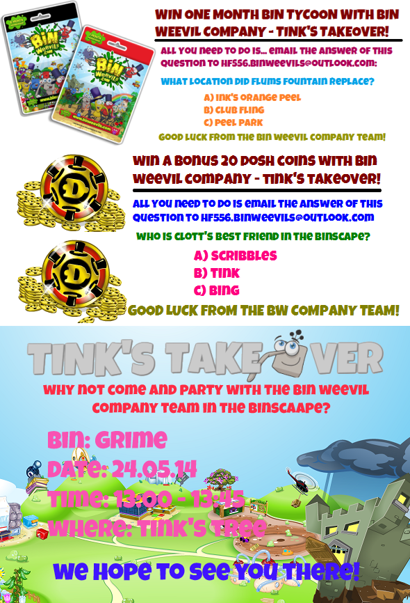 Win Bin Tycoon and Dosh Coins and Party DetailS!