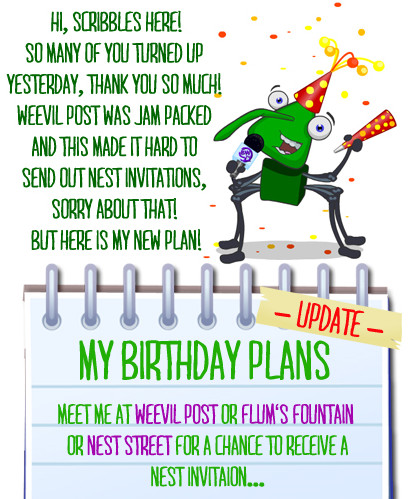 Scribbles Bday Plan Update